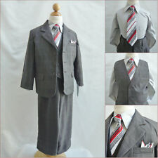 Gorgeous Boy Charcoal plaid & check formal suit 5 pc set wedding party all sizes