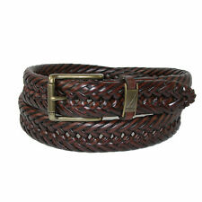 New Nautica Men's Leather 1 1/4 Inch Handlaced Basket Weave Braided Belt