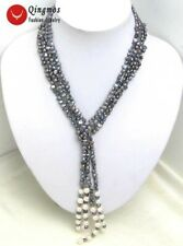 "SALE Black/Gray 4-5mm Natural Baroque Pearl 3 Strands Long 45"" Necklace-nec5189"