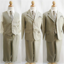 Khaki stripe/ivory shirt wedding party toddler youth boy formal suit all sizes
