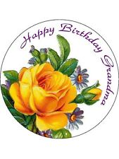 30-90 PRE-CUT EDIBLE WAFER CUP CAKE TOPPERS SHABBY CHIC YELLOW ROSE BEAUTIFUL