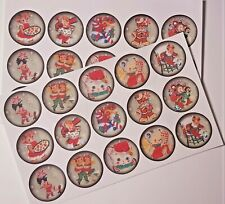 30-90 PRE-CUT EDIBLE WAFER CUP CAKE TOPPERS RETRO CHRISTMAS FUN CANDY CANE CUTE