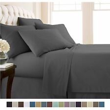 Bed Sheet Sets of Flat & Fitted Sheets Pillowcases Microfiber Linens Bedding Set