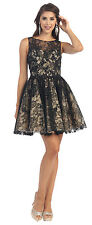 Homecoming Sleeveless Lace Applique Beaded Sequins Mesh Sassy Prom Short Dress