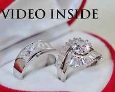 3Pieces Bridal Set: 925 Sterling Silver Created Diamond Engagement Ring