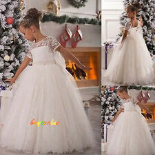Lace Wedding Party Formal Flower Girls Dress baby Pageant dresses fluffy dress-G