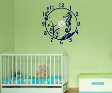 "Wall Decal Clock 22.44x24.4"" With Seahorse Sea Nursery Wall Stickers 1x039"