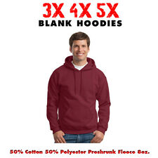 Big 3X 4X 5X Men's Hooded Sweatshirt 3XL 4XL 5XL Blank Hoodie CARDINAL RED