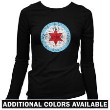 Chicago Insignia Women's Long Sleeve T-shirt LS - Star Flag Chi-Town IL - S-2X