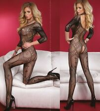 Livco Corsetti Lingerie Maribel Bodystocking Crotchless Open Crotch BLACK OS S/L