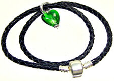 Double arm band Necklace Leather black Clip silver European Beads Charms Dangles