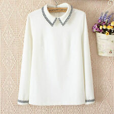Spring new Korean elegant lady embroidered long-sleeved collar shirt tide