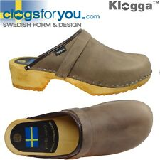 KLOGGA CLOGS Swedish Grain 100% Real Leather Wooden Soles Holzclogs Sabots