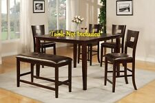 Modern Dining Dark Brown Counter Height Chairs Upholstered Matching Faux Leather