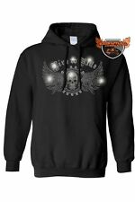 Women's Pullover Biker Hoodie Rhinestones Live To Ride Skull & Eagle Wings