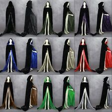 MEDIEVAL Black Velvet Halloween Capes Hooded Cloaks Wedding Shawl Sca Size S-6XL