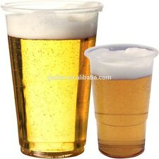 Disposable Clear Strong Plastic Pint / Half 1/2 Beer Glasses Cups Tumblers Drink