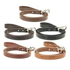 """Leather Dog Leash Lead Personalized Amish Handmade 6' Long 1"""" with pets Name"""