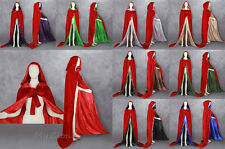 New Red Halloween Velvet Cloak Hooded Cape Coat Shawl Wedding Cape Size S-6XL