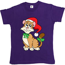 Cute Pussy Cat Wearing Christmas Hat & Bow Womens Ladies T-Shirt
