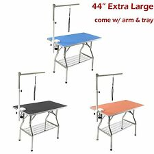 """44"""" Large Stainless Steel Heavy Duty Pet Dog Folding Grooming Table w/ Arm Tray"""