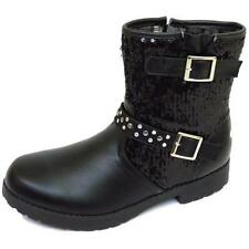 GIRLS KIDS CHILDRENS BLACK ZIP BUCKLE SEQUIN ANKLE FASHION BOOTS SHOES SIZE 12-3