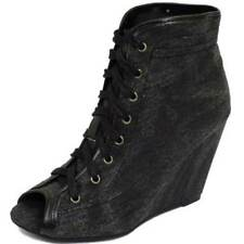 LADIES CHARCOAL BLACK LACE-UP PEEP-TOE WEDGE ANKLE BOOTS SHOES SIZES 3-8
