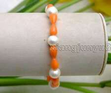 "SALE white Natural 8-9mm Pearl and 5*9mm Orange drop coral 7.5"" bracelet -bra295"