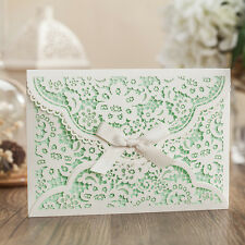 Personalized Hollow-out White Wedding  Invitations Cards With Envelopes, Seals