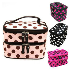 Womens Lady's Wave Dot Case Makeup Double Cosmetic Hand Bag Tool Storage Bags