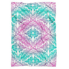 Pink Ombre Damask Fleece Blanket - Soft Faux Fur Throw