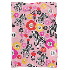 Zebra Blossoms Pink Fleece Blanket - Soft Faux Fur Throw
