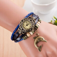 Woman Lady Weave Around Quartz Leather Dolphin Bracelet Wrist Watch shockproof
