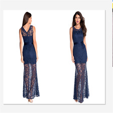 New Sexy Women Navy Lace Satin Long Party Maxi Cocktail Evening Club Dress 6809