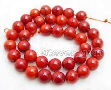 "SALE Big 10-11mm round Red natural Coral loose beads strand 15""-los102"