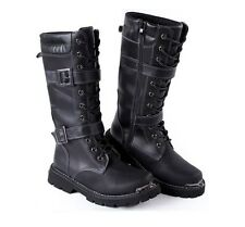 Retro Mens Zip British buckle strap Military Combat faux Leather Knee High Boots