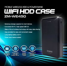 "Zalman ZM-WE450 2.5"" SATA Mobile Wireless Hdd Enclosure and Power Bank - Black"