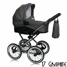 BABY BRAND NEW PRAM EVE 24 COLOURS CARRYCOT RAINCOVER NAPPY BAG SILVER CHASSIS