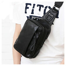 New Men's Leather Travel Shoulder Messenger Chest Bag Sling Fanny Pack Waist bag