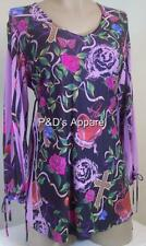 Womens Maternity Shirt Top Purple Black Purple 3/4 Sleeve Blouse Size S New