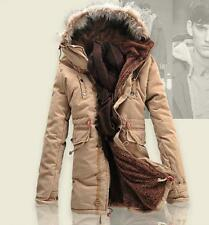 Mens Fur Collar Hood Winter Jacket Fur Lining Warm Thick Outwear Parka Coat