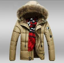 New Mens Fur Collar Duck Down Thick Jacket Warm Parka Hooded Casual Winter Coat