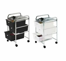 3 Drawers Storage Trolley Bathroom Kitchen Trolley Chrome Steel Frame Storage