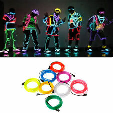 Colorful Flexible EL Wire Tube Rope Neon Light Glow Controller Xmas Party Decor