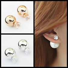 NEW Fashion Women Gold Plated Rhinestone Crystal Pearl Elegant Ear Stud Earring
