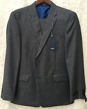 NWT Tommy Hilfiger Two Piece Regular Fit Gray Sharkskin Suit 100% Wool