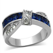 Stainless Steel Ring Princess Blue Sapphire Simulated Cubic Zirconia Accents