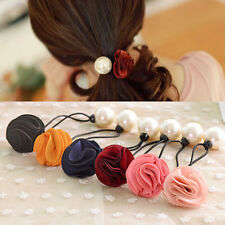 Women Girl Pearl Flower Hair Band Rope Scrunchie Casual Ponytail Holder Useful