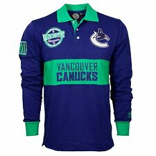 Vancouver Canucks NHL Wordmark Long Sleeve Rugby Polo