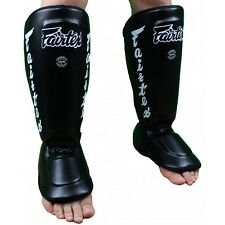 "Fairtex Muay Thai ""Perfect Twis-Ter"" Shin Guards SP7 Black New UFC MMA"